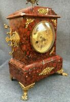 Antique french 19th century clock made of bronze and marble Napoleon III 15lb