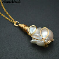 Wire Wrapped Natural White Pearl Baroque Pendant Linked Chains Necklace Jewelry