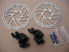 Promax Mechanical Disc Brake Set Front Rear Post Mount & IS Calipers Rotors Bike
