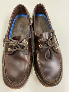 Sperry Top Sider 2 Eye Cordovan Burgundy Leather Boat Shoes 0195214 Men 10M