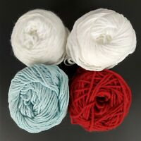 Lot 4 Cakes High Quality Knitting Yarn Light Blue Red White Acrylic 7.9oz Total