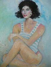 Milady à la plage. Peinture acrylique sur toile Déco tableau Art portrait femme