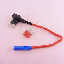 1x-5x ADD a Circuit Mini Fuse Holder Piggy Back + 10A Breaker 12V Car Motor Tap