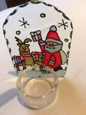 Christmas Santa and Reindeer Votive Candle Holder