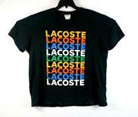 Lacoste Mens Shirt Big Logo Black Size XL Short Sleeve