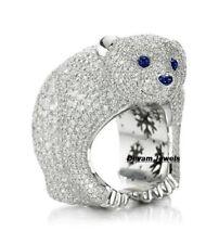 925 Sterling Silver Unique Cute Bear Shape CZ Beautiful Ring