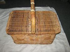 Large Woven Cane Double Flip Top Picnic Basket