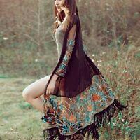 Women Boho Long Sleeve Floral Tassel Cardigan Kimono Chiffon Jacket Blouse Tops