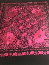 Huge Black Silk Manton de Manilla Flamenco Canton Piano Shawl Pink Floral Motif