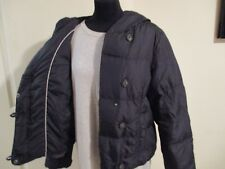 LADIES WHITE STUFF winter down & feather padded jacket, size 14 Black Hooded VGC