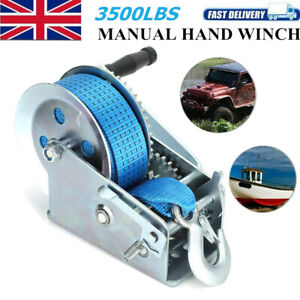 3500lbs Heavy Duty 32.8ft Strap Hand Crank Winch Dual Gear Boat Trailer Manual G