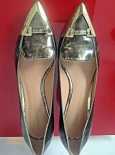 SIGERSON MORRISON  GOLD/ BLACK MIX LEATHER COMFORT&BEAUTY SHOES SZ-6,5 M