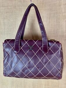 CHANEL Double Flap Brown Quilted Top Stitched Leather handbag 13 x 9 x 4