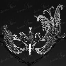 Silver Extravagant Butterfly Laser Metal Venetian Mardi Gras Masquerade Mask