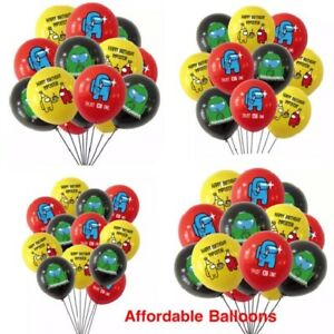 AMONG US Themed Happy Birthday Party Balloons X 10. AMONG US Party Decorations