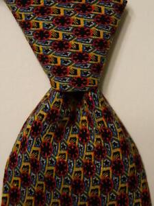 BRIONI Men's 100% Silk XL Necktie ITALY Luxury Designer Geometric Blue/Red EUC