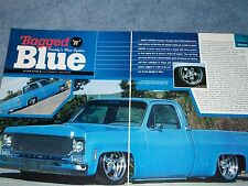 "1975 Chevy Short Bed Fleetside Pickup Truck Article ""Bagged 'n' Blue"""