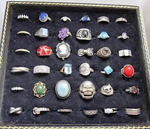 LOT OF 36 VINTAGE STERLING SILVER GEMSTONE RINGS CAMEO BAND CAT MARCASITE CZ
