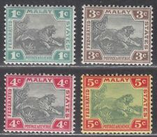 Federated Malay States 1900-01 QV Tiger 1c, 3c, 4c, 5c Mint