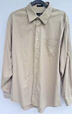Paul Dione 17-36/37 Men's Long Sleeve Button Down Shirt Tan 100's 2-Ply Cotton