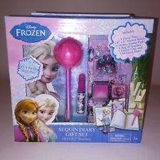 Disney Frozen Sequin Diary Gift Set Fuzzy Pen Stickers Stamp Pad NEW