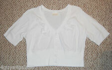 Womens Knit Top WHITE Cropped RIBBED WAIST V Neck BUTTON DOWN  XS 0-2 Shirt