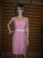 Maggy London Pink cream floral v neck  summer dress size 6 NWT