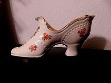 Vintage Porcelain Miniature Collectible Shoe Boot Floral Gold Trim Mid Heel