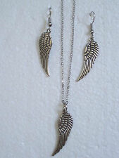 30 mm de plata tibetana Angel Wing Collar Y Aretes