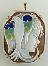 Bird Pin and Pendant Cameo Sardonic Shell Lady with