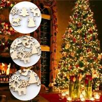 100PCS DIY Craft Christmas Xmas Wood Chip Hanging Tree Ornaments Decor Home 2cm