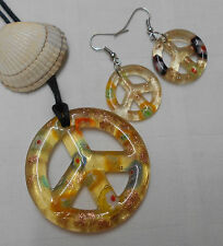 Murano glass set peace sign shape unusual pendant and matching earrings