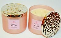 2 Bath & Body Works Sparkling Peach Bellini Scented 3 WICK Candle 14.5oz NEW