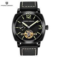Genuine PAGANI Men Waterproof Military Pilot Automatic Self-Wind Watch Leather