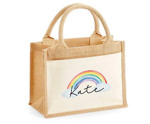 Personalised XL Jute Bag Shopping Bag NHS Rainbow Nurse Carer Worker  Teacher