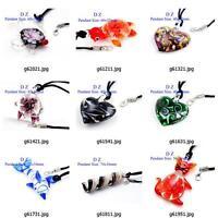 g814n61 Fashion Style Bead Lampwork Glass Murano Pendant Necklace Earrings set