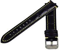 Bracelet de Montre en Cuir Aspect Croco Noir Avec Jaune Couture 18-24mm
