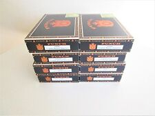 Lot of 8 Wood & Paper Punch Cigar Boxes Black & Gold Vintage Crafts Gift Ideas