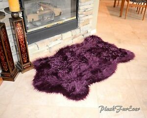 Nursery Rug 3x5 Purple Lavender Plush Shaggy Flokati Carpet Throw Rug Sheepskins