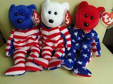TY BEANIE BABY LIBERTY TRIO - RED, WHITE & BLUE