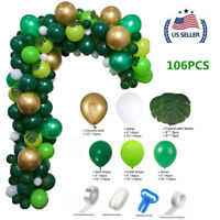 US!106Pcs Jungle Safari Green Balloon Arch Garland Kit Baby Birthday Party Decor