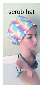 Unicorn rainbow Surgical scrub cap ,theatre nurse hat,doctor,chef and vet hat,