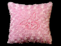 New Embroidered Soft Fuzzy Pink Baby Bunny Pillow 12 x 12 in insert