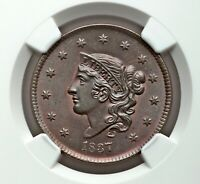 One of the best! 1837 1C NGC MS 66 BN CORONET HEAD LARGE CENT, N-13, R2