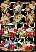 # GLANZBILDER # EF 7093 alte Motive mit Blumen, Händen und Tauben, mit GLIMMER