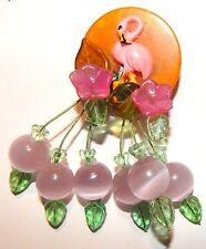 ART BROOCH Vintage BAKELITE POKER CHIP PINK LUCITE moonglow FLAMINGO CHERRY PIN