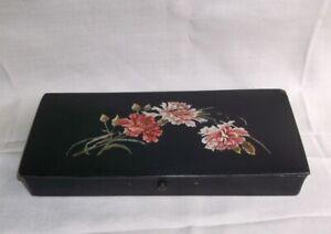 plumier en papier maché décor fleurs