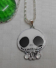 Kids childrens Jack The Nightmare Before Christmas necklace silver plated white