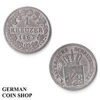 Bavière 1 Kreuzer Argent 1851 1858 1861 1862 1870 1871 Bavaria Argenté