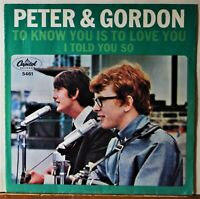 Peter and & Gordon To Know You is to Love You Teen 45 PS Pic PICTURE SLEEVE ONLY